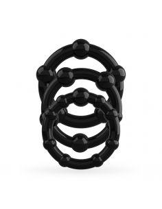Komplet erekcijski obročkov Crushious Triple Bead črn