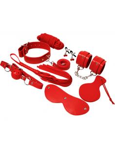 Komplet BDSM pripomočkov Experience, rdeč
