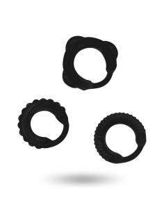 Komplet erekcijski obročkov Addicted Toys C-ring, črn
