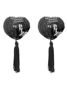 Klobučki za bradavičke Coquette Heart, črni